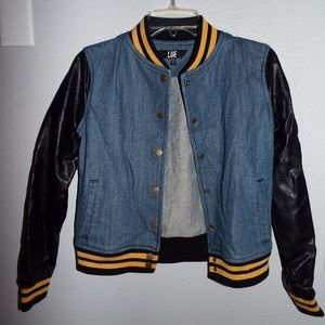 Denim Bomber Jacket with Leather Sleeves